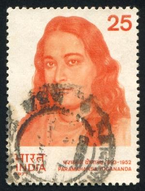 INDIA - CIRCA 1977: stamp printed by India, shows religious leader Paramahansa Yogananda, circa 1977. Credit www.box.com