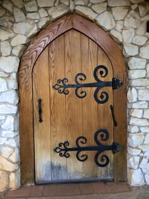 Door to St. Francis Chapel, Crystal Hermitage, Ananda Village, Nevada City, CA. Photo Brooke West